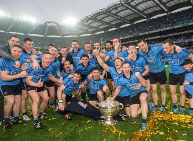 The Dublin team celebrating their Sam Maguire win last September.