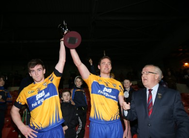Joint Clare captains Tony Kelly and Cian Dillon lift the cup.