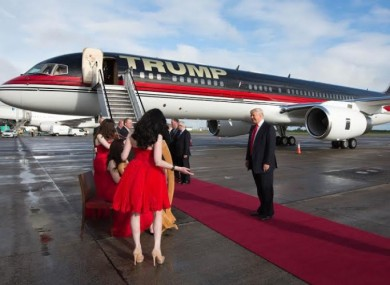 Trump arrives in Shannon in 2014.