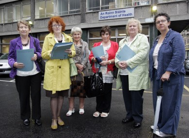 Members of Survivors of Symphysiotomy stand outside the Department of Health in September 2014.
