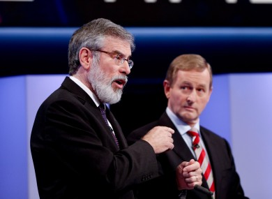 Gerry Adams and Enda Kenny in the final TV debate