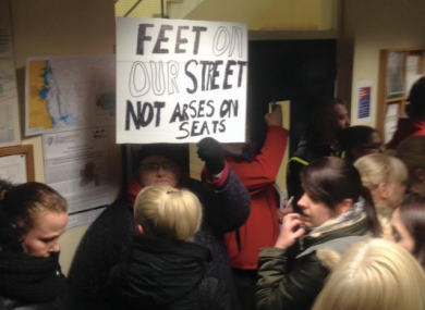Protesters demonstrate at Shankill Garda Station last night.