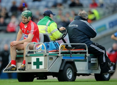 Christopher Joyce being wheeled off the pitch after tearing his cruciate against Dublin last year.