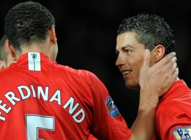 Former Manchester United team-mates Rio Ferdinand and Cristiano Ronaldo