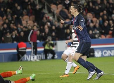 PSG's Zlatan Ibrahimovic celebrates the second goal.