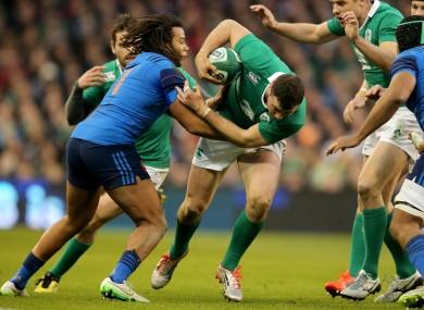 Ireland's Robbie Henshaw will be up against France's Teddy Thomas again tomorrow.