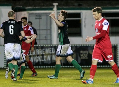 Bray's Andrew Lewis celebrates a late goal.