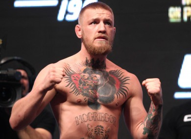 Conor McGregor at the weigh-ins ahead of UFC 196.
