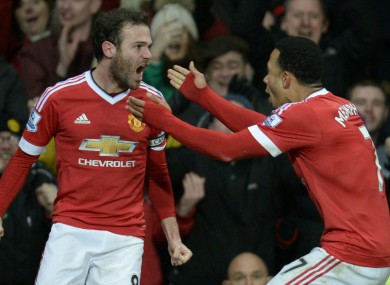 Mata with Memphis Depay last night.