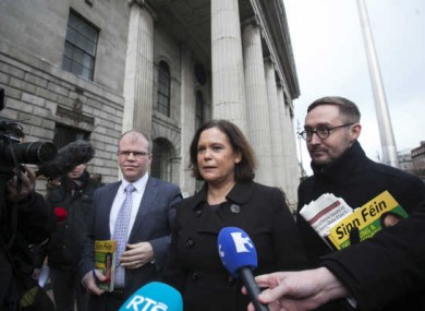 Peadar Toiban, Mary Lou McDonald and Eoin O Broin pictured before the election