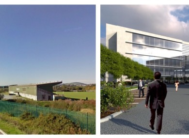 Cork City FC's former ground (left) and a proposed building in the science park