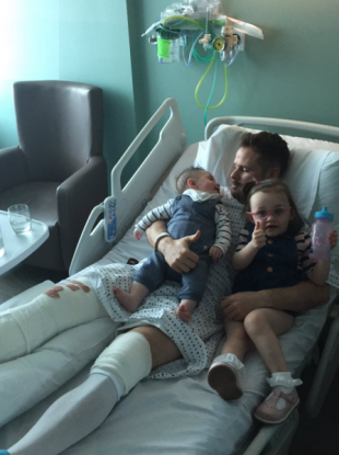 Judge in hospital with his two kids.