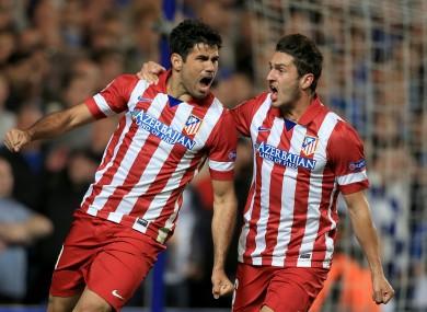 Atletico Madrid's Diego Costa (left) celebrates with team-mate Koke.