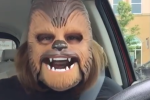 You'll never be as happy as this woman is with her Chewbacca mask