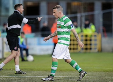 Gary McCabe was shown a red card.
