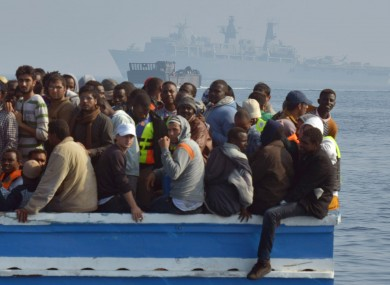 File photo of stranded migrant boat off the Libyan coast.