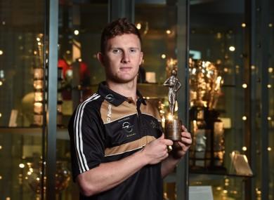 Kilkenny collecting his POTM award at Croke Park yesterday.