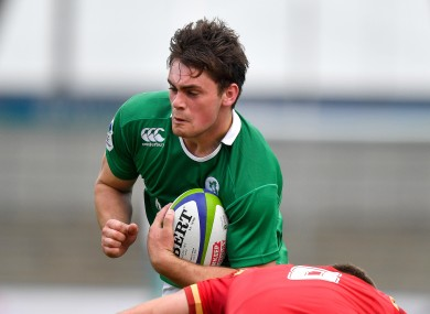 Ireland's Conor O'Brien tries to get his side on the front foot.