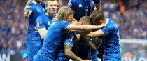 Iceland players celebrate their equaliser.
