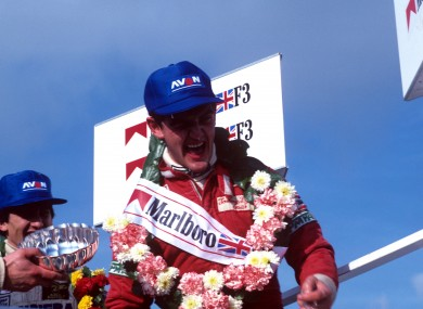 Tommy Byrne celebrates winning an F3 race.