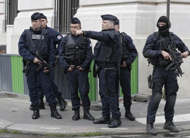 Policemen and members of French military task force GIGN.