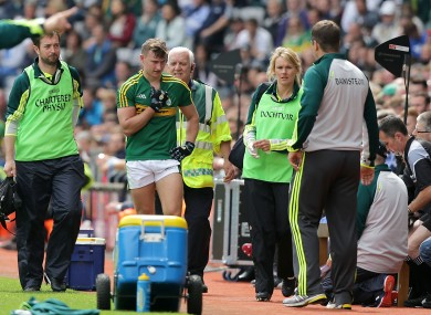 James O'Donoghue pictured coming off injured in Croke Park last August.