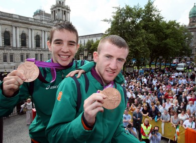 Paddy Barnes and Michael Conlan celebrate their Olympic bronze medals in 2012.