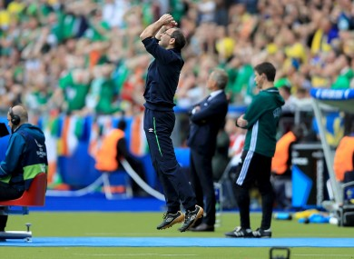 O'Neill reacts to a missed chance.