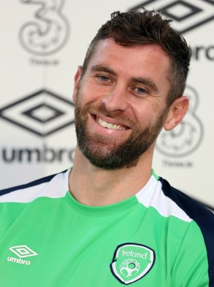 Daryl Murphy pictured during a press conference at the Stade de Montbauron, Versailles.