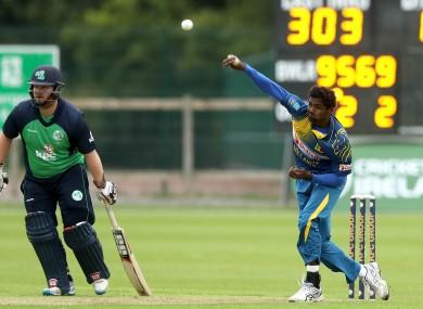 Eranga bowling during the first ODI in Dublin last Thursday.