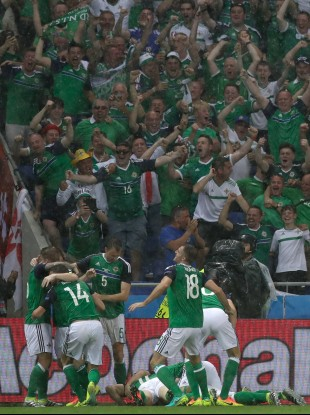 Northern Ireland celebrate Gareth McAuley's opener.