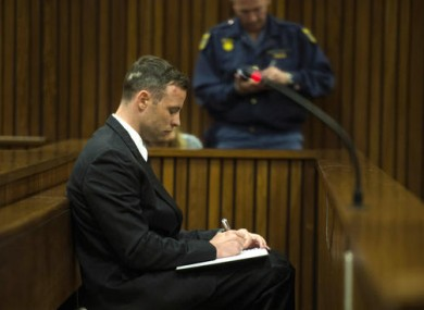 Oscar Pistorius appears in the High Court in Pretoria, South Africa.