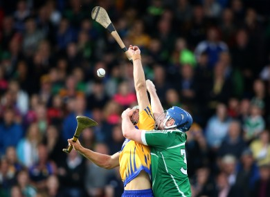 Clare's Aaron Shanagher and Limerick's Richie McCarthy