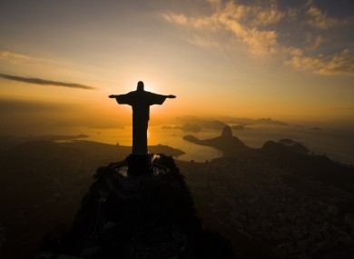 The sun rising behind the Christ the Redeemer statue in Rio de Janeiro earlier this week