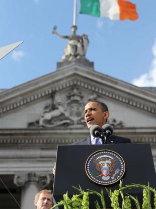 Obama speaks in College Green, Dublin in 2011.