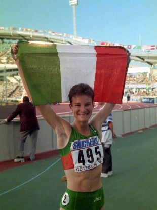 Sonia O'Sullivan in 1995 after winning gold.