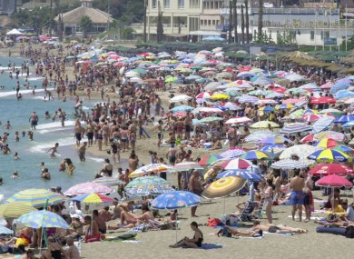 File photo of a crowded beach at Benalmadena on the Costa Del Sol in Spain.