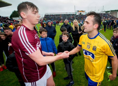 Galway's Thomas Flynn and Roscommon's Donie Smith after last Sunday's game.