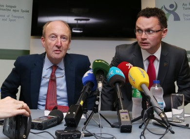 Minister Shane Ross and Junior Minister Patrick O'Donovan at today's press conference.