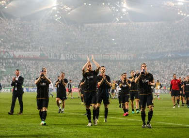 Dundalk players thank the travelling support inside the Polish Army Stadium last night.