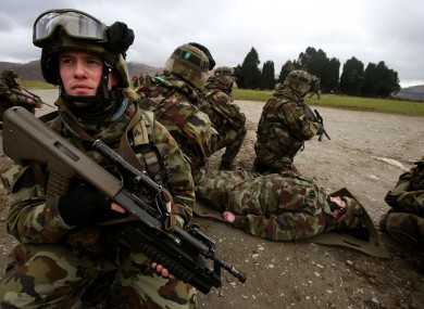 Ian Murphy of the Defence Forces 44th Infantry Group during a training exercise in the Glen of Imaal, Wicklow.