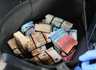 The cash was found hidden in a vehicle stopped by gardai.