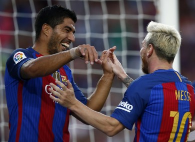 Messi and Suarez had cause to celebrate again this evening.