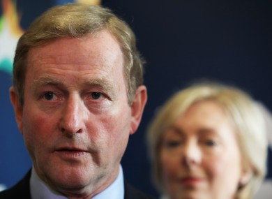 Enda Kenny at the Fine Gael think-in with the party's chief whip Regina Doherty.