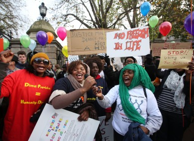 Protesters call for an end to direct provision at a demonstration in 2014