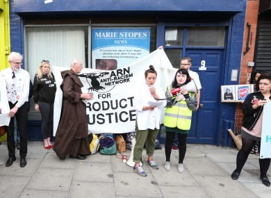 A protest outside the clinic yesterday.