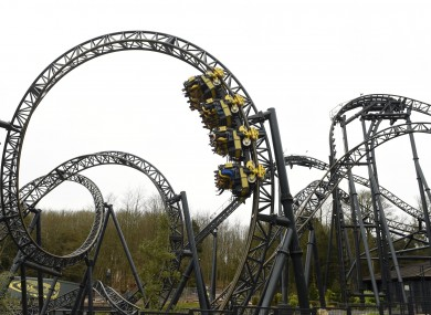 The Smiler ride at Alton Towers Resort in Staffordshire.