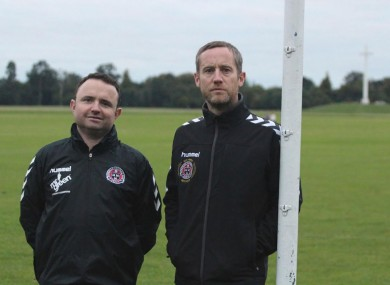 Bohemians President Matt Devaney (left) and Bohemians Youth Director Conor Emerson (right) at the Fifteen Acres site in Phoenix Park.