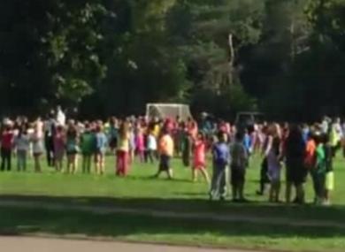 Students gathering on Prince Edward Island following the evacuation.