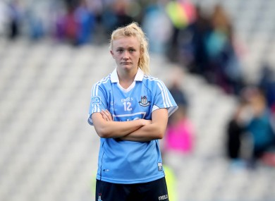 Carla Rowe left dejected at full-time.
